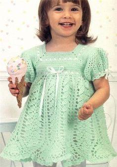 Детские платья, сарафаны спицами и крючком, вязание крючком для детей сар..