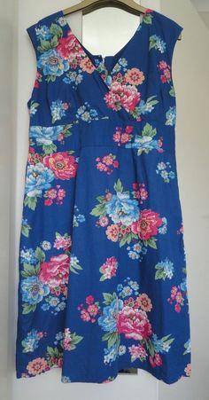 Joules Original ladies Julia Blue Posy floral sleeveless v neck dress size 18