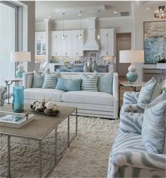 The living room color schemes to give the impression of more colorful living. Find pretty living room color scheme ideas that speak your personality. Living Room Decor On A Budget, Coastal Living Rooms, Living Room Grey, Small Living Rooms, Modern Living, Coastal Homes, Coastal Cottage, Rugs In Living Room, Simple Living