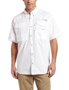 3ec4c56a002 Columbia Men's Bonehead Short Sleeve Fishing Shirt (White, Medium):  Designed to meet the needs of active anglers, this cool, protective shirt is  constructed ...