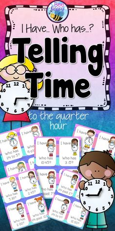A simple card game that everyone loves. I Have, Who Has? is quick to play and great for reviewing skills. This game reviews time to the quarter hour, using the different language forms: quarter to seven, six forty-five; quarter past two, two fifteen; half past twelve, twelve thirty and four o'clock.