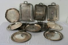 Lot of Silver Plate Trays Waiters Oneida Mixed