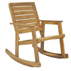 Safavieh�Teak Wood Slat Seat Outdoor Rocking Chair