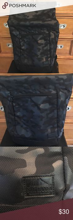 Steve Madden Back Pack Steve Madden Back Pack (Black Fatigue Print). Nice back pack for weekend trips, or books etc. Steve Madden Bags Backpacks