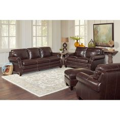 Blackburn Top Grain Leather Living Room Set Walnut BrownTop Bonded LeatherSofa Loveseat Chair OttomanBrass Finished Nailhead Trim Are