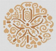 White Willow Stitching Tribal Sand Dollar - Cross Stitch Pattern. Based on the artwork of Jamie Larson. Model stitched on 14 count White Aida with DMC floss. St