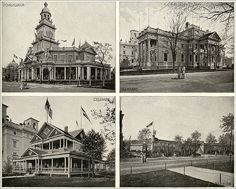 """""""State Buildings,"""" consisting of images of the Pennsylvania, Maryland, Delaware, and Florida buildings. From Columbian Gallery: A Portfolio of Photographs of the World's Fair, The Werner Company. 4 photographs from a series. 1893."""