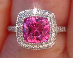 2.3 Carat Hot Pink Chatham Sapphire in White Gold Milgrain Bezel Diamond Halo Engagement Ring, by JuliaBJewelry