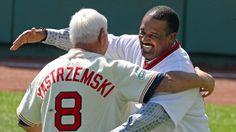 Carl Yastrzemski and Jim Rice Boston Sports, Boston Red Sox, Jim Rice, Red Sox Nation, Babe Ruth, Baseball Players, Espn, New England, Ted