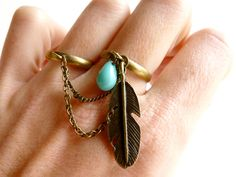 Double gold nature inspire turquoise feather chain ring