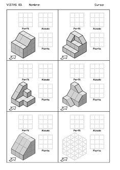 Ejercicios de Vistas y perspectivas. Alzado izquierdo. Piezas con rampas. Isometric Sketch, Architecture Student Portfolio, 3d Drawing Techniques, Orthographic Drawing, Perspective Drawing Lessons, Model Maker, Drawing Exercises, Cad Drawing, Drawing Practice