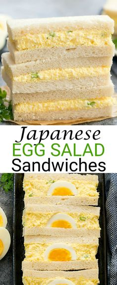 Japanese Egg Salad Sandwiches Soft and fluffy Japanese-style egg salad sandwiches, also known as tamago sando. These sandwiches are incredibly popular in Japan and sold at convenience stores like Lawson and FamilyMart. But they can easily be made at home! Easy Japanese Recipes, Japanese Dishes, Japanese Salad, Japanese Egg Salad Sandwich Recipe, Japanese Sandwich, Egg Salad Sandwiches, Cooking Recipes, Healthy Recipes, Healthy Food