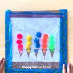Counting and Color Matching Pompom Ice Cream Hair Gel Sensory Bag My children LOVE this! The cutest 2 in 1 ice cream counting and color matching hair gel sensory bag. This makes a great travel activity too! Counting and Color Matching Pompom Ice Motor Skills Activities, Preschool Learning Activities, Infant Activities, Preschool Activities, Montessori Education, Preschool Printables, Art Activities For Preschoolers, Activities For 4 Year Olds, Art For Toddlers