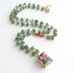 Green Apatite Pink Sapphire Bi-Color Watermelon Topaz Necklace