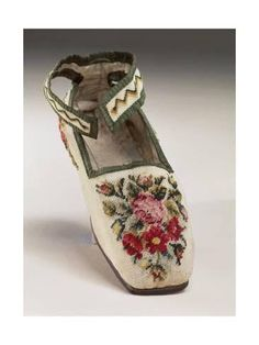 Giclee Print: Children's Shoe, Embroidered in Silk Small Stitch on Linen, with Floral and Geometric Motif : Vintage Shoes, Vintage Outfits, Vintage Cross Stitches, Antique Clothing, Doll Shoes, Childrens Shoes, Antique Dolls, Beautiful Shoes, Needlepoint
