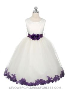 Flower Girl Petal Dress Style 152- White or Ivory Dress with Purple Accents $59.99