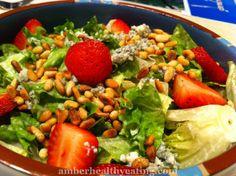 Creamy Garlic Strawberry Gorgonzola Greens- keto paleo low carb high fat
