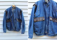 Vintage Vtg Vg 1980's 80's Bomber Jean Jacket Leather Jacket Metal Zipper Retro Distressed Euro Motorcycle Jacket Men's Made in Uruguay by foxandfawns on Etsy