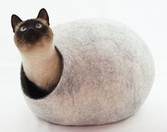 Cat House Bed Cave Hand Felted from Ecological Wool Color Snow Grey Size M Cat Cave, Felt Cat, House Beds, Cat Furniture, Wet Felting, Animals Of The World, Sheep Wool, I Love Cats, Wool Felt