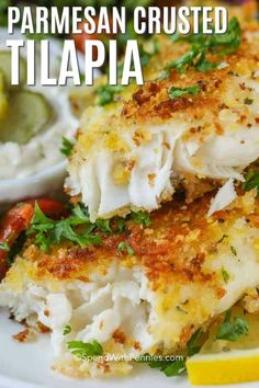 Parmesan Crusted Tilapia is tender, flaky and delicious! This fish is coated with a parmesan cornflake crust and pan fried until golden brown. #spendwithpennies #tilapia #fish #seafood #fishrecipe #tilapiarecipe #20minutemeal