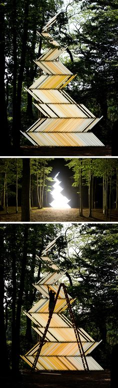 """Flame (Gate)"" light installation by Yochai Matos – Systematic Assembly – Light interaction with nature"