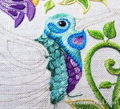 Secret Garden Embroidery Project: Embroidering the Bird - picking out dark teal stitching