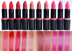 Essence Long Lasting lipsticks.  From left to right: Coral Calling, All you need is red, Dare to wear, On the Catwalk!, Dare to be Nude, Barely there!, Natural Beauty, Colour Crush, Wear Berries!, Cotton Candy