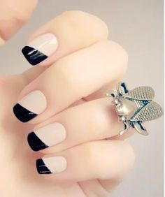 Simple styled nails, you could do this with any color!