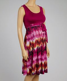 Another great find on #zulily! Berry Abstract Tie-Dye Maternity Empire-Waist Dress #zulilyfinds