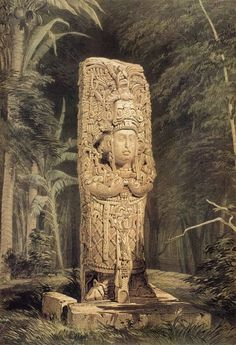 """""""Idol at Copán"""", from Frederick Catherwood's Views of Ancient Monuments in Central America, Chiapas and Yucatan (1844)."""