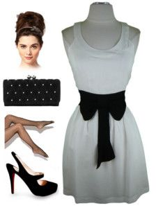 now in stock www.lebombshop.net  60s Style WHITE Cut-Out Back BLACK BOW PINUP Sun Dress