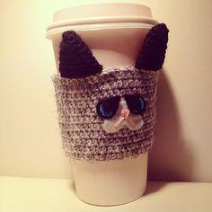 VALENTINES SALE, Grumpy Cat Crochet, Crochet Coffee Cozy, Coffee Sleeve, Cup Cozy, Drink Cozy, Reusable Coffee Sleeve, Gift Idea