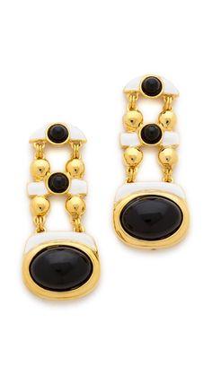 Kenneth Jay Lane Oval Drop Earrings