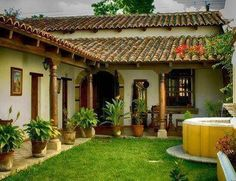 spanish style homes - Mediterranean Home Decor Products - internationally inspired Spanish Colonial Homes, Spanish Style Homes, Spanish House, Village House Design, Village Houses, Hacienda Style Homes, Courtyard House Plans, Casa Patio, Mexico House