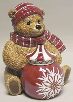 Teddy Bear Musical Cookie Jar Teddy is Sitting Behind the Big Red Jar Which is Decorated w a Big white Snow Flake, Teddy Wearing Red & White Scarf and Hat. Christmas Cookie Jars, Christmas Dishes, Christmas Tea, Holiday Cookies, White Christmas, Christmas Ornament, Christmas Decorations, Ornaments, Kinds Of Cookies