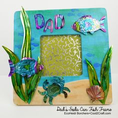 Cut and emboss soda cans to create an underwater scene on a frame. Dad's Soda Can Fish Frame EcoHeidi Borchers. Featured on Cool2Craft.com #diycrafts #recyclecrafts