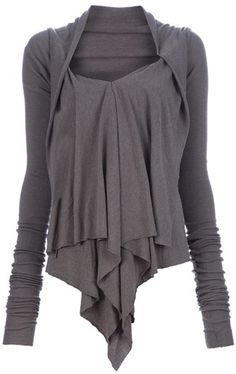 Rick Owens Lilies Draped Top in Gray