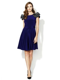 Sequin Ruffle Sleeve Silk Fit and Flare Dress by Notte By Marchesa at Gilt