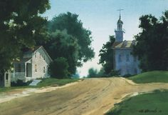This image portrays the Kirtland Temple shortly after its dedication in March 1836. This painting was one of the artist's first attempts at painting church history sites, and the first of his paintings to appear on the cover of the LDS Ensign magazine.