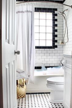 Black & White Tile | Window in Shower | Garden Stool in Small Bathroom