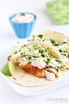 Tilapia soft tacos with honey-lime slaw #CincodeMayo