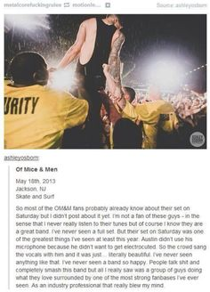I'll be honest, I don't listen to much of their music, but a round of applause for the OM&M band and fanbase.