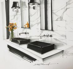 Best bathroom interior design sketch ideasYou can find Interior sketch and more on our website. Interior Architecture Drawing, Interior Design Renderings, Drawing Interior, Interior Rendering, Interior Sketch, Interior Design Tips, Modern Interior, Architecture Portfolio, Design Ideas