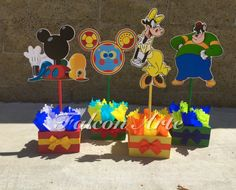 Mickey Mouse Clubhouse Toodles Pete Clarabelle birthday party wood guest table centerpiece decoration Pluto Minnie Mickey Donald SET OF 4 Mickey Mouse Clubhouse Birthday Party, 1st Birthday Parties, 3rd Birthday, Birthday Ideas, Mickey Birthday, Mickey Mouse Centerpiece, Party Items, Minnie, Table Centerpieces