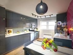 Modern Kitchen with Black Island and Tile Wall : Designers' Portfolio : HGTV - Home & Garden Television