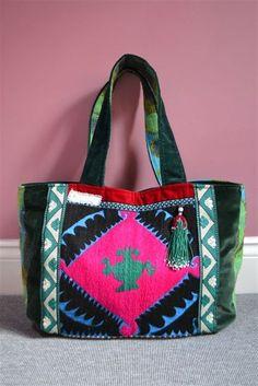 Uzbek vintage handembroidered silk panel bag