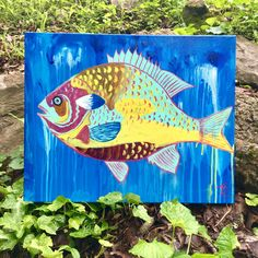 Acrylic on canvas fish painting