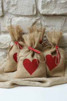 Burlap Gift Bags, Set of Four, Valentines Day, Shabby Chic Wedding, Red Heart, Red and Natural.