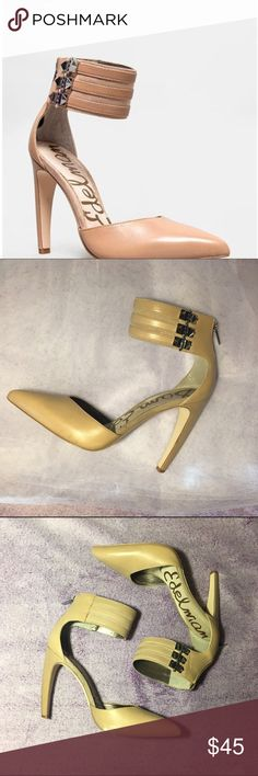 Leather Sam Edelman Claire Heels Ankle Strap These pre-loved heels are not as yellow as they look in pictures. Signs of wear shown but no damage or anything. Super cute high heels with a studded ankle strap and pointy toes. I'm open to reasonable offers! Sam Edelman Shoes Heels