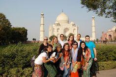 Taj mahal with tourists